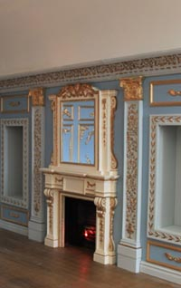 A sumptuous Louis room in Carol Singers house made by Tim Hartnall, Anglia Dolls houses