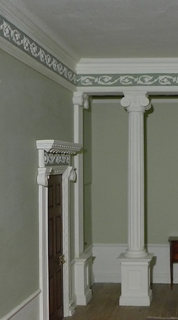 Ann Barringtons elegant room setting picks out the details in FR1 frieze and the doorcase OD3S to great effect