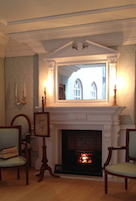 Pablos' elegant William Kent room with PF25 fireplace and OM21 overmantel and brickback grate