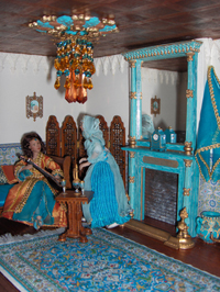 A gloriously colourful Arabian/andalucian room, with PF18 fireplace and other items