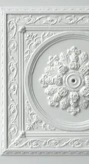 A ceiling panel using SPA, CR18, FR1, C14, cardboard rings, wooden mouldings and R1
